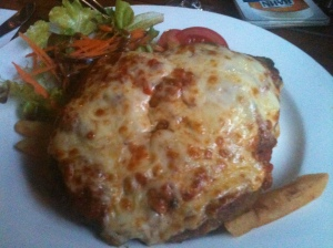 The beef parma was a jaw workout.