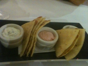 Trio of dips (what do we want more pita and when do we want it...now)
