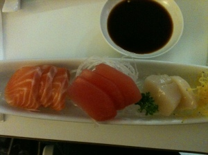 Generous serve of sashimi.