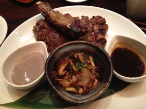 Wagyu rib-eye with the delicious mushrooms