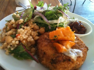 Pumpkin arancini with the peski couscous salad.